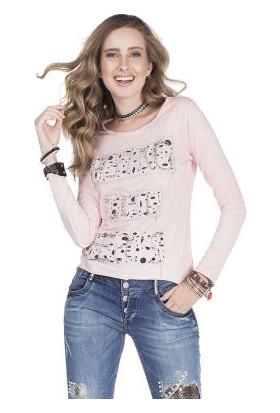 Cipo&Baxx WL141 İnce Yazlık Açık Pembe Bayan Sweatshirt
