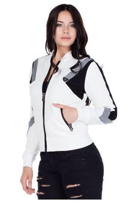 Cipo&Baxx WL113 Kolej Yaka Beyaz Slim Fit Bayan Sweatshirt