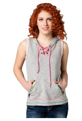 Cipo&Baxx WL106 Bağcıklı Yaka Kolsuz Kapşonlu Bayan Tişört