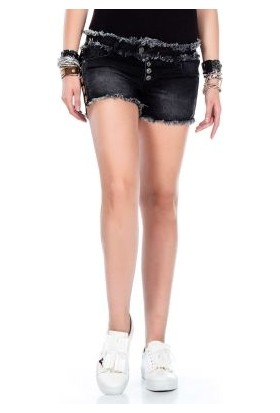 Cipo&Baxx WK133 Püsküllü Süper Mini Siyah Bayan Kot Şort