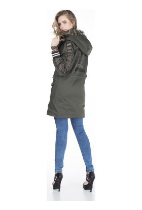 Cipo&Baxx WJ134 Army Fashion İçi Kürklü Bayan Uzun Mont