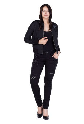 Cipo&Baxx WJ123 Lily Royal Kolej Yaka Siyah İnce Bayan Mont