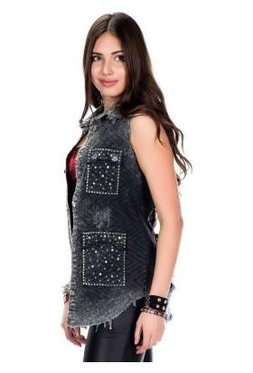 Cipo&Baxx WH107 Paramparça Yırtık Metal İşlemeli Bayan Kot Yelek