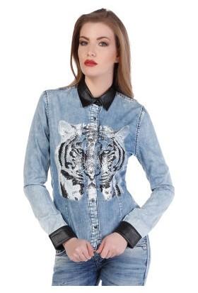 Cipo&Baxx WH100 Deri Detaylı Kaplan Baskılı Bayan Kot Gömlek
