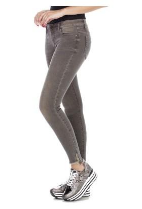 Cipo&Baxx WD355 Paçası Fermuarlı Kahverengi Bayan Kot Pantolon