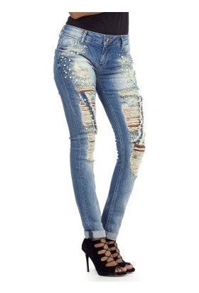Cipo&Baxx WD338 Boncuk İşlemeli Yırtık Mavi Bayan Kot Pantolon