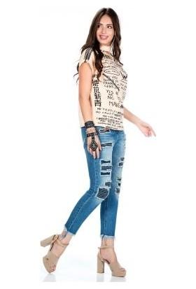 Cipo&Baxx WD304 Yamalı Jean Sökük Bilek Mavi Bayan Kot Pantolon