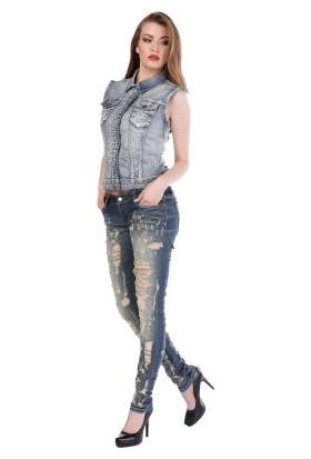 Cipo&Baxx WD208 Paramparça Yırtık Koyu Mavi Jean Bayan Kot