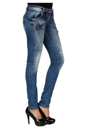 Cipo&Baxx WD168 Dikiş Detaylı Düğmeli Slim Fit Bayan Mavi Jean