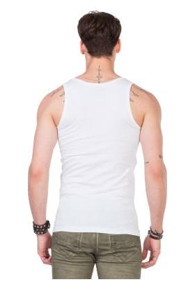Cipo&Baxx CU107 Geniş Yaka Kolsuz Slim Fit Beyaz Erkek Atlet