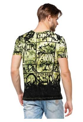 Cipo&Baxx CT456 Green Karışık Desenli Yazılı Yeşil Erkek Tişört