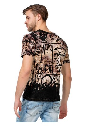 Cipo&Baxx CT456 Karışık Desenli Yazılı Kahverengi Erkek Tişört