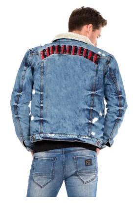 Cipo&Baxx CJ233 İçi Kürklü Mavi Erkek Eskitilmiş Kot Mont Ceket