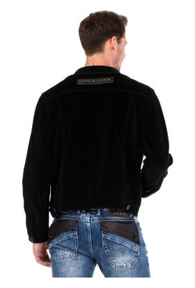 Cipo&Baxx CJ226 Düğmeli Kadife Siyah Erkek Ceket Mont