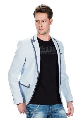 Cipo&Baxx CJ222 Açık Mavi Yazlık İnce Erkek Spor Blazer Keten Ceket