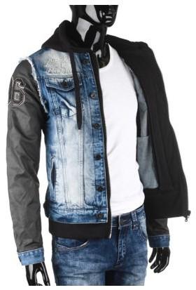 Cipo&Baxx CJ174 Kolları Deri Kapşonlu Erkek Mavi Kot Ceket