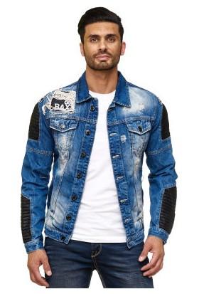 Cipo&Baxx CJ162 Deri Yamalı Eskimiş Yırtık Mavi Erkek Kot Ceket