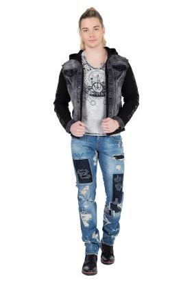 Cipo&Baxx CJ155 Kolları Penye Kapşonlu Siyah Erkek Kot Ceket