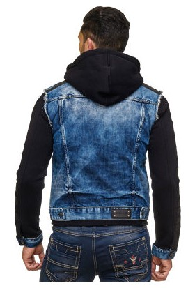 Cipo&Baxx CJ154 Kolları Penye Kapşonlu Jean Erkek Kot Ceket