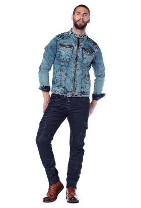 Cipo&Baxx CJ145 Mavi Jean Ceket Fermuarlı Erkek Kot Mont