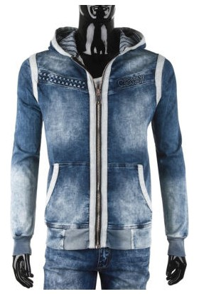 Cipo&Baxx CJ139A Kapşonlu Fermuarlı Mavi Erkek Kot Sweatshirt