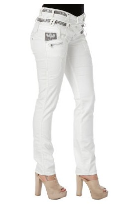 Cipo&Baxx CBW-0245 Üç Katlı Düşük Bel Beyaz Bayan Kot Pantolon