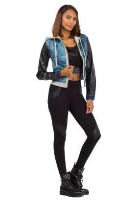 Cipo&Baxx CBW-018 Deri Kollu Kapşonlu Mavi Bayan Kot Ceket