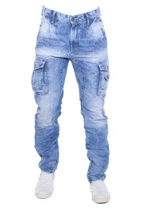 Cipo&Baxx CD365 Açık Mavi Rahat Kargo Erkek Kot Pantolon