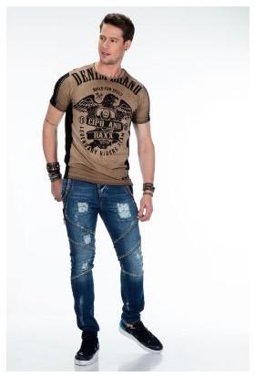 Cipo&Baxx CT432 Motorcu Kartal Baskılı Kahverengi Erkek Tişört
