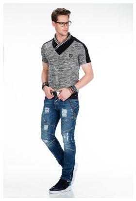 Cipo&Baxx CT426 Dik V Yaka Fermuar Detaylı Gri Erkek Tişört
