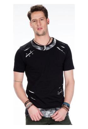 Cipo&Baxx CT422 İki Katlı Yırtıklı Siyah Gri Rahat Erkek Tişört