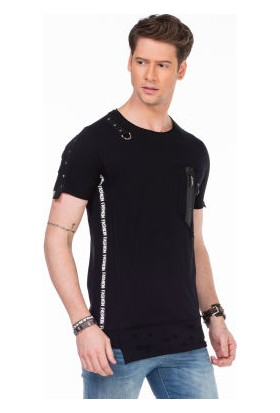 Cipo&Baxx CT366 Siyah Asimetrik Detaylı Slim Fit Erkek Tişört