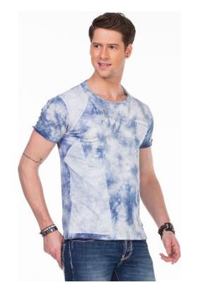 Cipo&Baxx CT248 Geniş Yaka Yıkamalı Açık Mavi Erkek Tişört