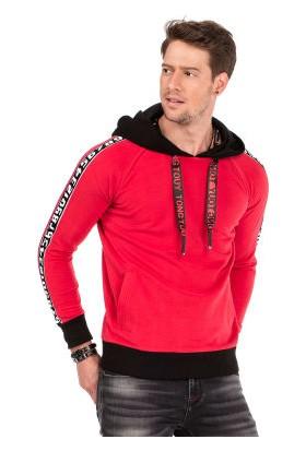Cipo&Baxx CL307 Şeritli Kapşonlu Kırmızı Erkek Sweatshirt