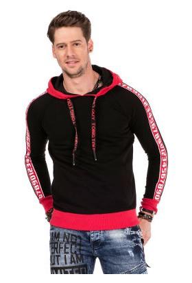 Cipo&Baxx CL307 Şeritli Kapşonlu Siyah Erkek Sweatshirt