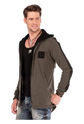 Cipo&Baxx CL305 Kapşonu Çıkan Haki Uzun Erkek Sweat Ceket