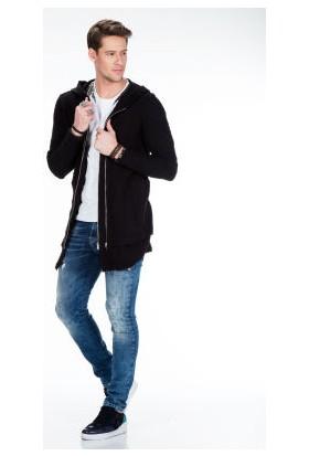 Cipo&Baxx CL296 Çift Fermuar Kapşon Uzun Siyah Erkek Sweatshirt