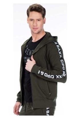 Cipo&Baxx CL292 Yeşil Kapşonlu Spor İçin Rahat Erkek Sweatshirt