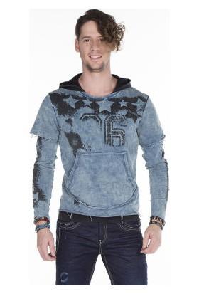 c244ec6a4ea43 Cipo&Baxx CL279 Kurukafa Baskılı Yırtık Mavi Erkek Sweatshirt ...