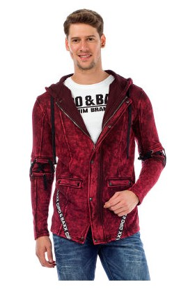 Cipo&Baxx CL257 Bağcıklı Kapşonlu Bordo Erkek Ceket Sweatshirt