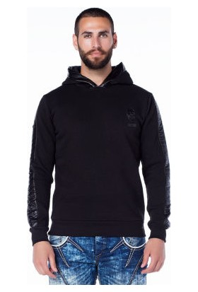 Cipo&Baxx CL206 Kaplan Baskılı Kapşonlu Siyah Erkek Sweatshirt