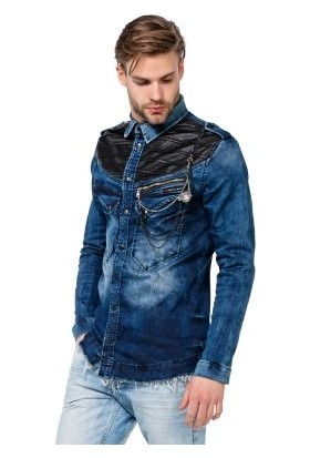 Cipo&Baxx CH137 Zincirli Deri Detaylı Erkek Mavi Kot Gömlek