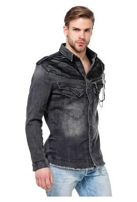 Cipo&Baxx CH137 Kurukafa Deri Detay Siyah Erkek Kot Gömlek