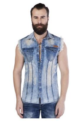 Cipo&Baxx CH116 Açık Mavi Jean Yırtık Kolsuz Erkek Kot Gömlek