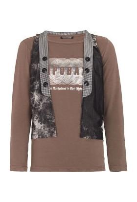 Cipo&Baxx C-5372 Baskılı Yelekli Kahverengi Erkek Sweatshirt
