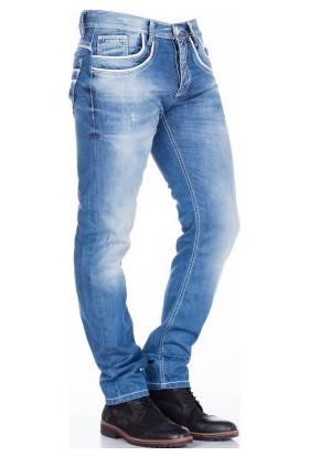 Cipo&Baxx C-1127 İki Kat Cep İşlemeli Mavi Erkek Kot Pantolon