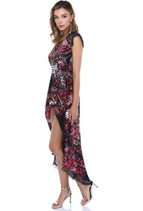 Tantrona Nakış Detaylı Arkası Uzun Aplikli İpek Saten Elbise