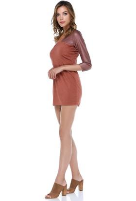 Tantrona Tek Kol Parlak Deri Kumaşlı Mini Elbise