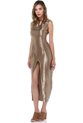 Tantrona Ultra Parlak Kumaş Önden Yırtmaçlı Elbise