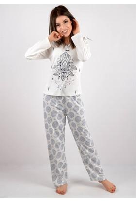 Anımsa Pemilo Da Anımsa Uzun Kol Penye Pijama Takımı Krem